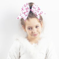 Wholesale Breast Holder - 7 Inch Fashion Breast Cancer Cheer Bow for Children Grosgrain Ribbon Cheer Bow With Ponytail Holder