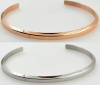 Wholesale Wholesale Plain Bangle Bracelets - 316L Stainless Steel Plain Polished Finish Cuff Bangle Bracelets for Men Women with Silver and Rose Gold Plating