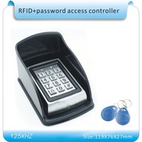 Wholesale Entry Metal Door Access Control - Wholesale- Free shipping metal shell + Waterproof case password & 125KHZ RFID Entry Door Lock Access Control System + 10 KeyFob