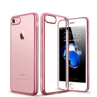Wholesale Iphone Thin Metal Cover - Ultra-Thin Metal Electroplating Soft TPU Case Cover For iPhone X 8 7 6S Plus Samsung S7 edge S8 Plus Note 8 Transparent ShockProof Cases