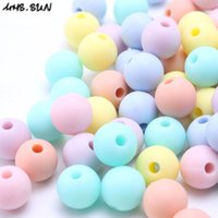 Wholesale candy color bead necklaces - Wholesale 19MM 30PCS Random Candy Color BPA Free DIY Round Silicone Chew Beads Safety Teething Teether Beads Baby Necklace&Bracelet Made