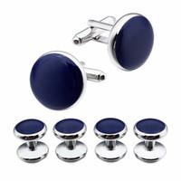 camisa de esmoquin azul marino al por mayor-Nueva marca de joyería de moda Camisa de vestir Gemelos Personalizados Gemelos de hombre Esmoquin 4 Tachuelas Conjunto Azul Marino