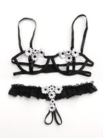 Wholesale Open Cup Crotchless Lingerie - Bra Open Cup Crotchless Panties Suit Female Sexy Lace Bra Set Transparent Women Underwear Black Embroidery Bow Lingerie Set