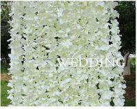 ingrosso viti di seta di glicine per il matrimonio-Wisteria artificiale Vine Flower 2 metri lunghe corone di seta per la decorazione di sfondo fondale Shooting puntelli wa3739