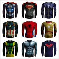 Wholesale Silk Mens Long Shirt - Batman Spiderman Marvel Superhero Winter Superman 3D Printed T Shirt Mens Long Sleeve Bodybuilding Biker Dry Quick Compression Shirts 5XL