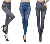 Wholesale Skinny Jeggings Wholesale - Hot Women Jeans Leggings Skinny Pants Tights Black Blue Seamless Denim Imitation Jeans True Pocket Leggins Jeggings PPA737