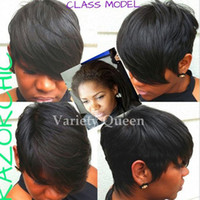 Wholesale Chinese Bangs Black Women - Short Cut Human Hair Wig Brazilian Hair Short bob wigs For Black Women Lace Wigs With Bangs Human Hair Pixie Wigs