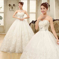 Wholesale married pictures - 2017 New Bride Sexy Strapless White A-Line Wedding Dresses Lace-Up Floor-length Women Married Crystal Sleeveless Dresses Slim Chapel Wedding