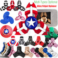 Wholesale Wholesale Black Bear Toy - New Fidget Spinners Toy Hand Spinner Golden Alloy 5Color Metal Multi Style Bearing CNC EDC Finger Tip Rotation Anxiety HandSpinners Toys DHL