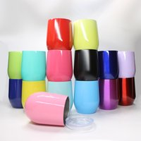 Wholesale Wine Wholesale Items - 2017NEW ITEM IN STOCK 18 colors egg Cups 9 oz Stemless Beer Wine Glass Egg Shaped Cup Stainless steel Powder Coated Wine mugs 9oz with Lid