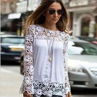Wholesale Ladies Blouses For Spring - Spring Autumn 2017 Hollow Flowers Tops for Women Cotton Blend Designer Ladies Shirts Long Sleeve Vintage Blouses Women's Clothing S-5XL