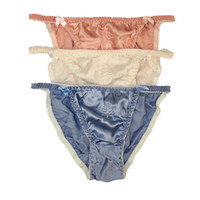 a476a468234 NWT Lot 3P Silk Women'S String Bikinis Panties Solid Tanga Size US M L XL  XXL