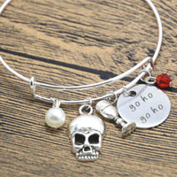 des cartes achat en gros de-12pcs / lot bracelet Pirate Yo Ho Yo Ho jonc carte de trésor Pirate Buvez du cristal de tête de mort.
