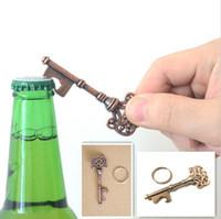Wholesale Metal Key Shaped Bottle Opener - Key Shape Beer Bottle Opener Vintage Retro Keychain Opener Key Ring Metal Bronze Silver Portable Gifts b923