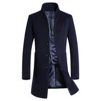 grabenmänner europa großhandel-Neuer Europa-Art-Mann-Trenchcoats-Mann-Winter-Oberbekleidung Trench-Jacken-Mann-Mantel-beiläufiger Wollmantel-Mens-Herbst und Winter-Jacke
