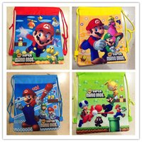 Wholesale Super Mario Drawstring - cartoon Super Mario Double - sided non-woven fabric printing pocket Drawstring Gift Bag for children Swimming bag 12PCS LOT XT