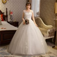 Wholesale Noble Embroidery - Wedding Dresses 2017 The Bride Elegant O-neck Luxury Lace Embroidery Ball Gown Noble Princess Glitter Wedding Dresses F