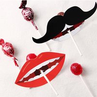Wholesale Lollipop Wedding Favors Wholesale - 2017 New Cute Red Lips Moustache Lollipop Paper Card DIY Handmade Straws Decoration Card Wedding Candy Gift Party Favors Gift