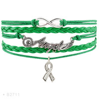 Infinity Love Angel Wings Awareness Hope Ribbon Charm Bracelets pour femmes Bijoux pour hommes Green Purple Leather Wrap Wristband Custom