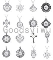 Wholesale Assorted Slide Charms - Noosa 16 pieces assorted women's Silver ginger 18mm Snap Buttons chunk charms pendant necklaces 316L Stainless Steel Chain