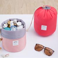 Wholesale Waterproof Barrel Storage - Hot Sale Cosmetic Bag Korean Style Barrel Shaped Storage Bag Washing Package Waterproof Rope Drawn Multi - Functional Travel Bag