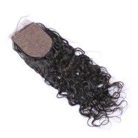 3.5 verschluss großhandel-Indisches Jungfrau-Haar-Schließungs-3.5 * 4inch freies mittleres dreiteiliges Menschenhaar-Wasser-Wellen-Seide-Basis-Schließung gebleichte Knoten