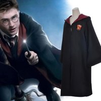 Wholesale Black Cosplay Cloak - New 2017 Harry Potter Robe Gryffindor Cosplay Costume Kids Adult Harry Potter Robe Cloak Halloween Costumes For Kids Adult