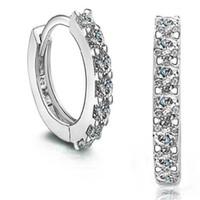 ingrosso borchie in diamanti svizzeri-Design 925 placcato argento sterling piccolo orecchini a bottone DHL svizzero cz diamante orecchini a cerchio bellissimo regalo di fidanzamento gioielli regalo di natale