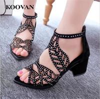 Wholesale shoes ladies club - Koovan Fashion Women Sandals 2017 New Summer Chunky Heel Fish Mouth Ladies Sandals Rhinestones Hollowing Sexy Night Club Shoes W095