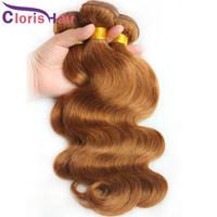 16 inç dalgalı saç uzatma toptan satış-Sınıf 8A Vücut Dalga Vizon Brezilya Örgü Demetleri # 30 Orta Kumral Virgin İnsan Saç Uzantıları Ucuz Sarışın bresilienne Dalgalı Dokuma Fiyatları