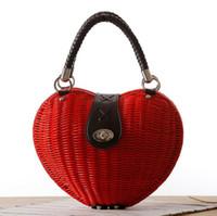 Wholesale lovely japanese - Factory wholesale brand new summer love rattan handbag bag type Japanese hand woven grass beach bag lovely goddess fan series Kawai bag