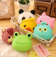 Wholesale Silicone Purse Coin Card Holder - 2016 New Fashion Lovely Kawaii Candy Color Cartoon Animal Women Girls Wallet Multicolor Jelly Silicone Coin Bag Purse Kid Gift