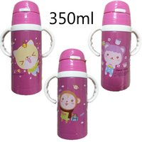 Wholesale Disposable Water Bottles - Wholesale- 260 350ml thermos Baby Kids Cute Cup Children Drinking Water Handle Bottle School Bottle baby drinking bottle with straw 2103