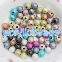 Wholesale China Plastic Beads - Cheap CHINA Assorted Colors Loose Plastic Wrinkled Beads Sparkly Acrylic Metallic Glitter Round Spacer Bubble Gum Beads 4-20MM