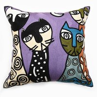 Wholesale Picasso Print Abstract - Free Shipping Full Embroidery Picasso Abstract Printing High Quality Pillow Case Sofa Throws Cushion Cover 2268