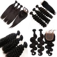 dantel örgüleri toptan satış-Brezilyalı Saç Örgü 3 adet satın Saç Bir Ücretsiz Dantel Kapatma Işlenmemiş Malezya Hint Perulu Moğol Insan Saç Uzatma