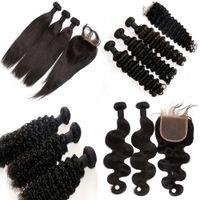 cheveux mongols pour le tissage achat en gros de-Cheveux Brésiliens Armure Acheter 3pcs Cheveux Obtenez Un Gratuit Dentelle Fermeture Non Transformés Indien Malaisien Péruvien Mongolian Extension de Cheveux Humains