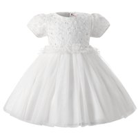 Wholesale Snow Ball Wedding - Wholesale- Baby Girl First Birthday Dress Infant Princess Snow White Christening Gown Flower Tutu Wedding Dress For Girl Christmas Costume