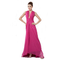 Wholesale Discount Ladies Chiffon Dresses - Big Discount Fuchsia Chiffon Evening Gown Sexy Deep Neckline Ladies Prom Party Dress Long Length Good Quality