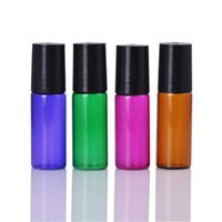 EUA Reino Unido Atacado 5ml Roll on Glass Bottles com vidro / Metal Roller Ball para perfume Essential Oil Purple / Green / Amber Glass Roller Bottles