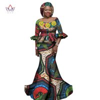 Wholesale Trumpet Sets - Women African Clothing Women Dress Set 2 Piece Tops and Long African Skirts Maxi Dress Club Dress Dashiki Print Dresses WY1178