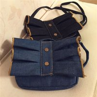 Chicas Plisados ​​Denim Cross Body Bags Niños Accesorios Niños Handmade Candy Purses Fashion Little Girls Boutique Bow Bolsos de Hombro