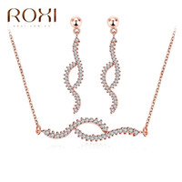 Wholesale Rose Gold Jewelery - ROXI Charms Wavy Cross Stud Earrings Long Necklaces Fashion Jewelery Set Rose Gold Plated Punk Pendant Chain Mother's Day Gift