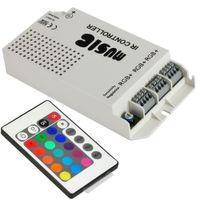 12v musik licht großhandel-12V 60W 5A RGB LED-Musik-Prüfer 12-24V drahtlose Musik IR-Fern-Ton-aktiviert 3 Kanäle Ausgang für RGB-Produkte RGB LED-Streifen-Licht