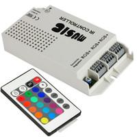 ingrosso music ir controller 24v-Telecomando per musica LED 12V 60W 5A RGB 12-24V Musica wireless Telecomando IR Uscita audio a 3 canali per prodotti RGB Striscia LED RGB