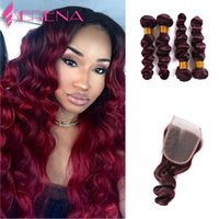 Wholesale Peruvian Hair 5pcs - Peruvian Virgin Hair Loose Wave 99J Brazilian Hair 5Pcs Wine Red Loose Wave Virgin 4x4 Closure Grade 7A Burgundy Red Human Weft Weaves