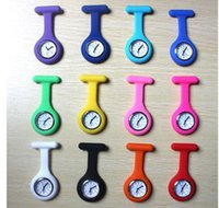 Wholesale Silicone Zebra - New arrival Silicone Nurse Watch Candy Colors Zebra Leopard Prints Soft band brooch Fob Watches