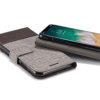 apple iphone чехол для кошелька оптовых-MUXMA серии Gunny ткань бумажник кожаный чехол флип гибридный телефон случаях обложка для iphone X 7 8 7plus
