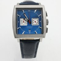 Wholesale Watch Steel Strap 12 Mm - Luxury Brand Tag Calibre 12 Mens Watch Blue Square Dial Quartz Movement Chronograph Blue Leather Strap Folding Original Clasp Men Watches