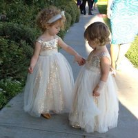 Wholesale Cute Little Girl Dressed Sexy - Cute 2017 Cheap Sexy Sequins Flower Girls Dresses Formal Kids Backless Little Girl Pageant Party Gowns
